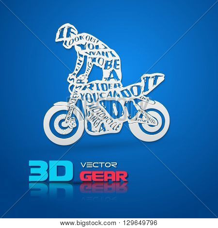 Flat monochrome poster with motorcyclist silhouette, and hand drawn style font. Paper 3d style vector Illustration.