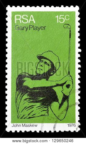 SOUTH AFRICA - CIRCA 1976 : Cancelled postage stamp printed by South Africa, that shows Gary Player.