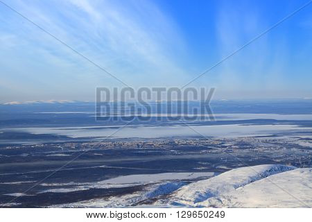 Apatity town and lake in russian arctic