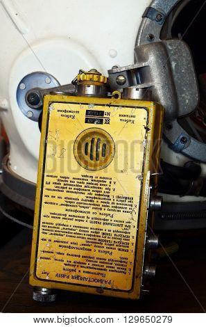 Vintage Soviet Air Force rescue radio.At April 19,2016 in Kiev, Ukraine