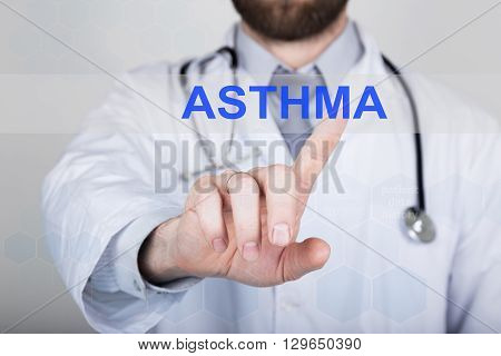 technology, internet and networking in medicine concept - medical doctor presses asthma button on virtual screens. Internet technologies in medicine.