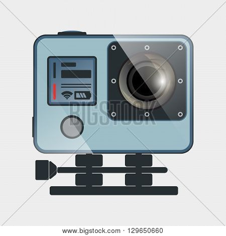 Action camera flat design. Camera for filming extreme sport. Vector illustration.