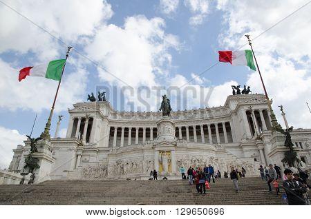 ROME, ITALY  APRIL 26: Monument at Piazza Venezia in Rome Italy April 26, 2016