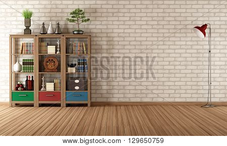 Vintage Bookcase In A Empty Room