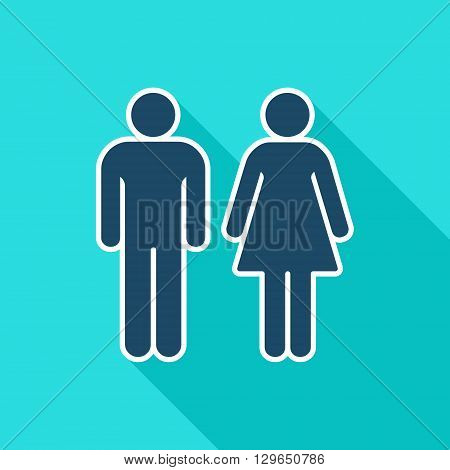 Gender flat icon. Man and Woman symbol. Vector illustration