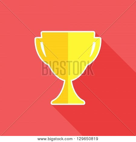 Trophy flat icon. Trophy cup symbol. Vector illustration