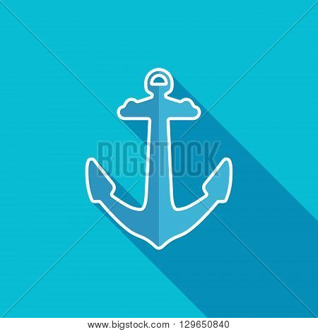 Anchor flat icon. Old sea anchor symbol. Vector illustration