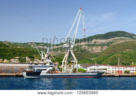 BIJELA MONTENEGRO - SEPTEMBER 16 2015: Shipyard in Bijela Bay of Kotor Montenegro