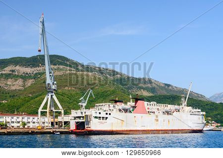 BIJELA MONTENEGRO - SEPTEMBER 16 2015: Ship at shipyard of ship repair plant Bijela Bay of Kotor Montenegro