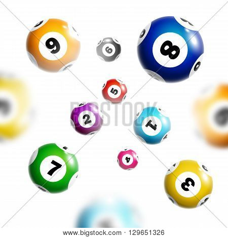 Lottery background with colorful balls isolated on white background.