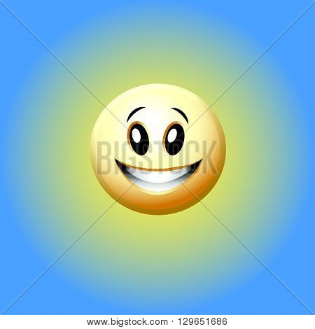 vector illustration of a laughing smiley on a blue background