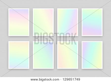Set of 6 realistic holographic backgrounds in different colors for design. Hologram to create trendy modern design. Backgrounds for design cards, filling silhouettes, pattern design to printing.
