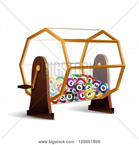 Rotating lottery drum with bingo balls. Lottery spinner. Lottery machine isolated on white background.