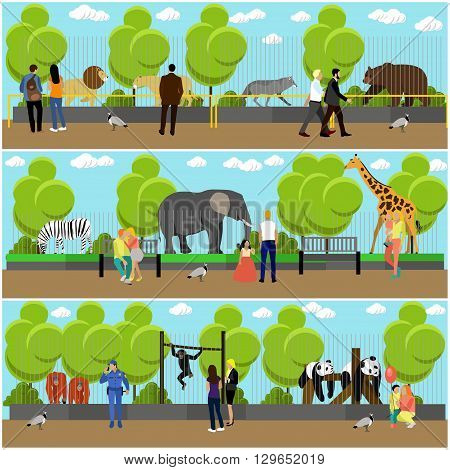 Zoo concept banners. People visiting zoo with family and kids. Animals in zoo. Vector illustration in flat style design.