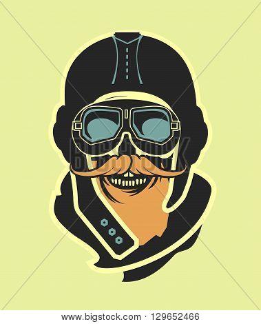 Dead pilot vector image of skull in helmet poster black and white