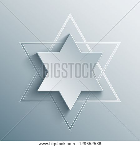 Star of David with shadow. Magen and shield of David. The day of Jerusalem. Judah vector religious symbol in 3d, paper and origami style.