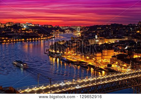 Old city of Porto at sunset Portugal