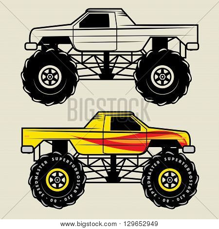 Race monster truck cartoon on white background, vector illustration