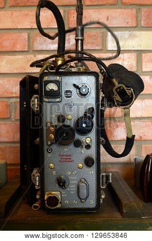 ILLUSTRATIVE EDITORIAL.Vintage Soviet military radio R-105m .April 19,2016 Kiev, Ukraine