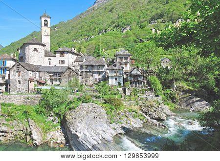 Village of Lavertezzo in Verzasca Valley near Locarno,Ticino Canton,Switzerland