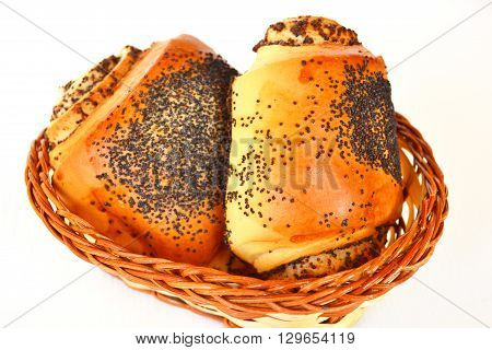 Two buns with poppy seeds. Sweet rolls