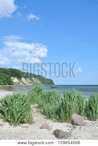 Coastal Landscape and View to Kap Nordperd in Goehren on Ruegen Island,baltic Sea,mecklenburg Western Pomerania,Germany