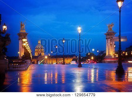Alexandre III Bridge at night,  Paris, France, toned