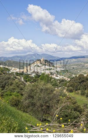 Village of Montefrio, Granada province, with its moorish fortress on the hilltop