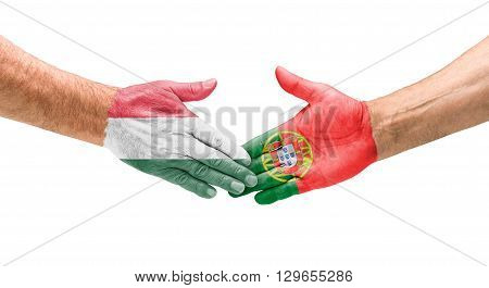 Football Teams - Handshake Between Hungary And Portugal