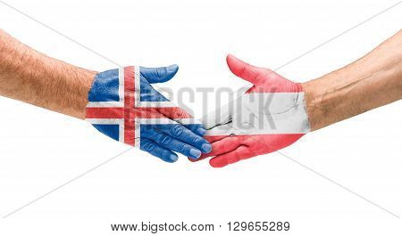 Football Teams - Handshake Between Iceland And Austria