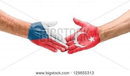 Football Teams - Handshake Between Czech Republic And Turkey
