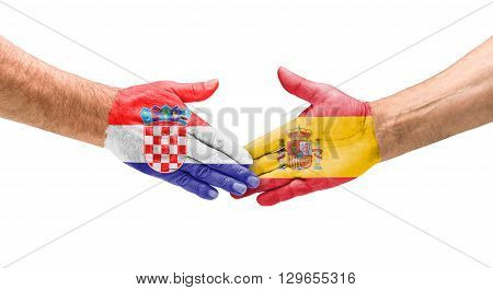 Football Teams - Handshake Between Croatia And Spain