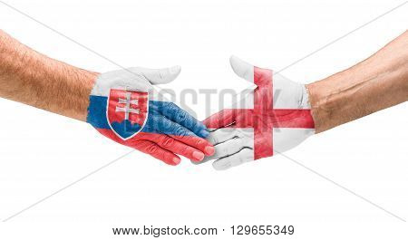 Football Teams - Handshake Between Slovakia And England