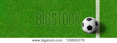A Football Field Wtith A Ball And Copy Space