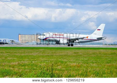 SAINT PETERSBURG RUSSIA - MAY 11 2016. Rossiya Airlines Airbus A319 airplane-registration number EI-EZD - is riding on the runway after arrival from Pulkovo International airport
