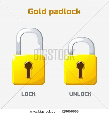 Cartoon gold padlock. Lock and unlock. Vector icons