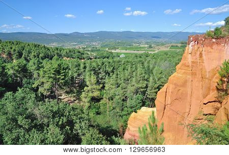 the famous Ochre Quarries of Roussillon in Luberon,Languedoc-Roussillon,Provence Alpes,South of France