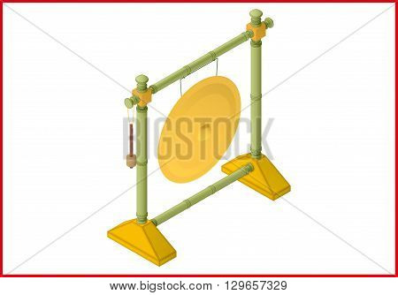gong isometric perspective view flat vector 3d illustration