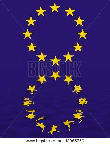 euro union flag reflection