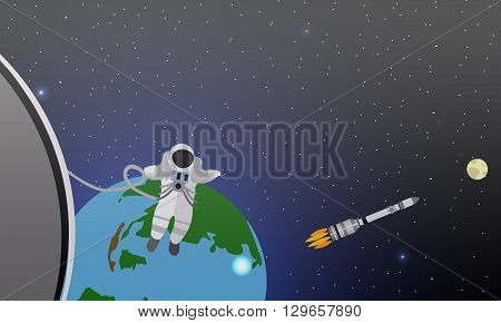Space mission concept vector illustration. Astronauts in space station and outer space. Cosmonauts flying in no gravity space. Rocket launch.