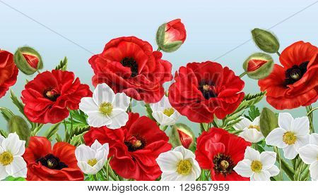 horizontal floral border red poppies flowers white anemones pattern seamless