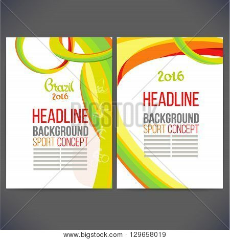 Abstract vector template design Brochure,Flyer,Layout template,Web sites, page, leaflet with colored lines and waves.logo and text separately. Sport concept banners.Sign Brazil 2016. info-graphics.