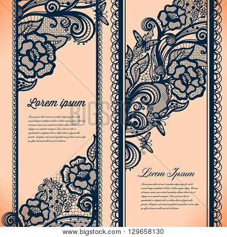 Abstract Lace Ribbon Vertical banners.Template frame design for card.Lace Doily.Can be used for packaging, invitations, and template.Two separate objects.