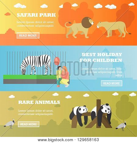 Zoo concept banners. Animals in zoo, panda, zebra, lions. Vector illustration in flat style design.