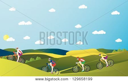 Group of bicycle riders on bikes in mountains and park. Biking sport concept cartoon banners. Vector illustration in flat style design.