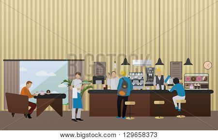 Vector banner with restaurant interior. People having lunch in cafe and bar.