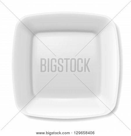Illustration of empty white plate with rounded borders isolated on white background