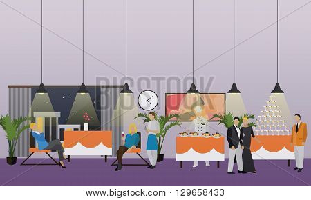 Vector banner with restaurant interior. People having dinner in cafe. Party concept.