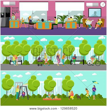 Family at home and in park concept banner. People spending time with kids and friends in park or at home. Vector illustration in flat style design.