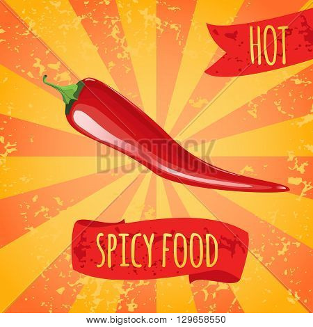 Spicy food. Red hot chili peppers. Spicy seasonings and dishes.
